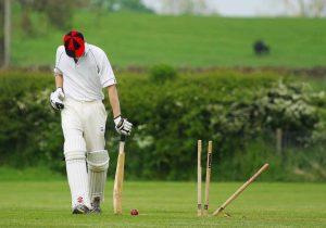 A batsman getting out