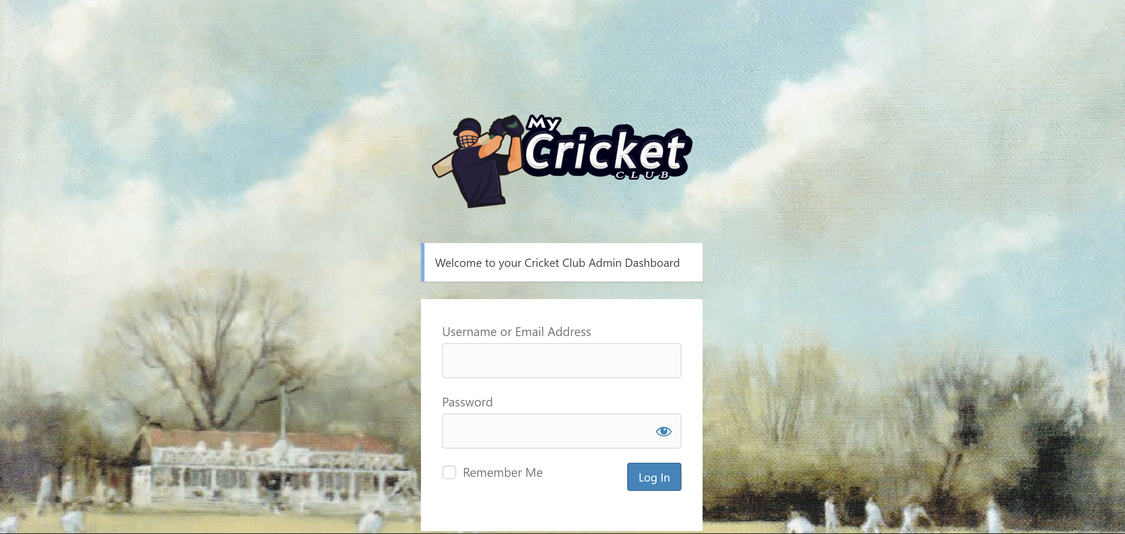 Cricket Club Website login