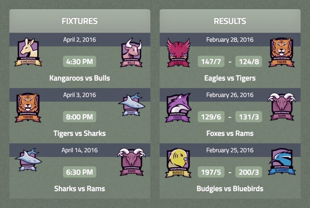 Cricket team fixtures and result cards