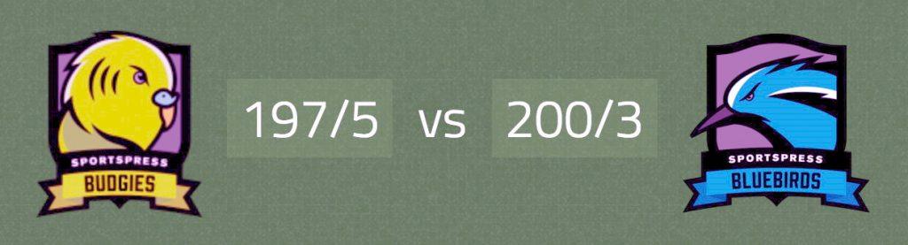 Cricket Match result card